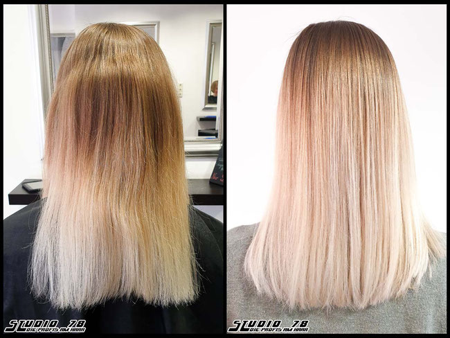 Coloration Haarfarbe blonde nude-blonde blond coloration vorher nachher