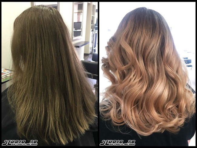 Coloration Haarfarbe blonde rose-gold balayage coloration vorher nachher
