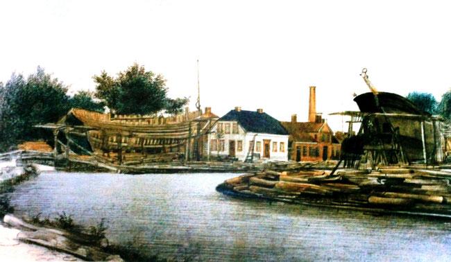 Abbildung 3: Papenburg um 1860, links Werft von B. Tholen, rechts Werft von W. Meyer (Quelle Meyer Werft, Foto Dr. Hochhaus)