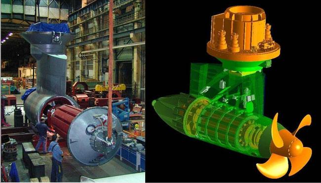 Abbildung 7: Elektrischer Podantrieb, links Montage, rechts einbaufertig (Quelle Heine)