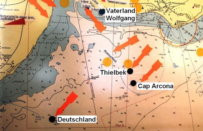 """Ostsee vor Neustadt,  1945: Liegeplätze der von Jagdbombern versenkten Schiffe """"Cap Arcona"""", """"Thielbeck""""  und """"Deutschland"""""""