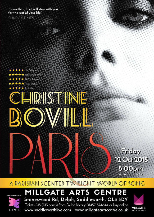 French chanson by Christine Bovill poster for Saddleworth Live at the Millgate