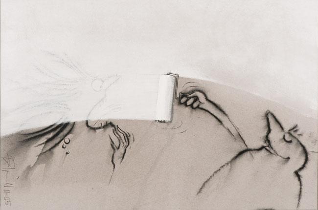 """""""Auslöschung"""", 2005, Pastell und Acryl, 22 x 32 cm"""