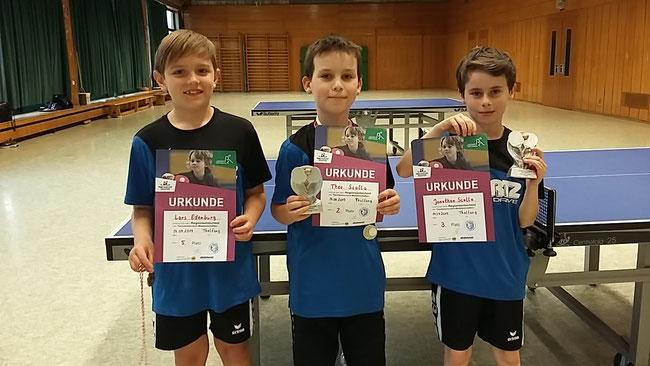 v.l.n.r.: Lars (5. Platz, AK2), Theo (2. Platz, AK3) und  Jonathan (3. Platz, AK2)