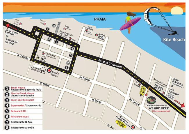 Map of Cumbuco Brazil Kitesurfing Hotel Pousada Cumbuco Guesthouse