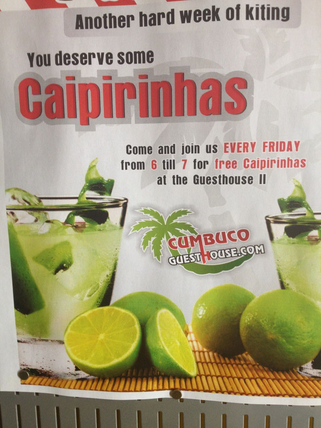 Free Caipirinhas at the Cumbuco Guesthouse Brazil ! Come and join us !
