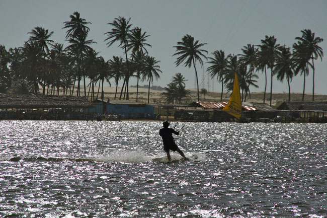 Kiting at the Cauipe Lagoon near Cumbuco