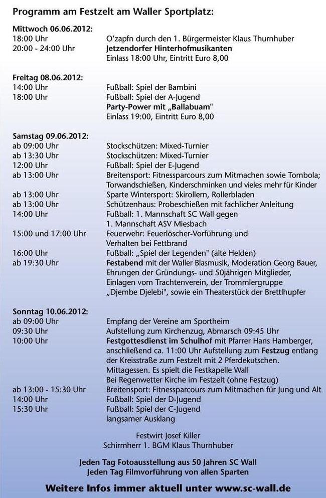 Das Festprogramm zur Jubiläumsfeier 50 Jahre SC Wall