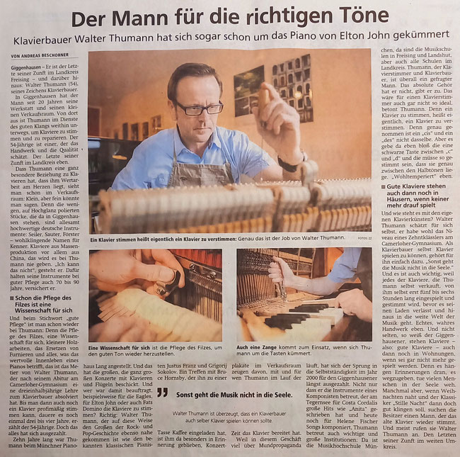 Bericht im Münchner Merkur, 15.10.20