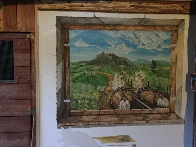 Wandmalerei in Bayern Fresko