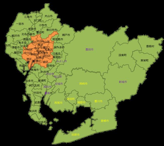 愛知県の白地図のイラスト