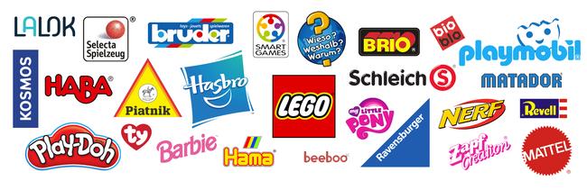 Spielwaren-Kröll: Logos unserer Topmarken - LEGO, Playmobil, Schleich, Haba, Matador, Nerf, Ty, Bruder