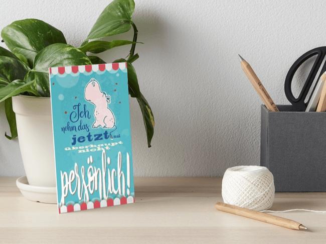 Nilpferd, Flusspferd - Ich nehme das jetzt mal überhaupt nicht persönlich - Galeriedruck bei Redbubble  – Illustration Judith Ganter - Illustriertes Kopfkino für Alltagsoptimisten