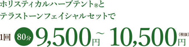 ホリスティカルハーブテント®︎と テラストーンフェイシャルセットで1回80分9,500円~10,500円(税抜)