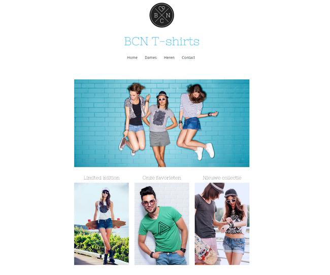 Design voor een webshop van Jimdo