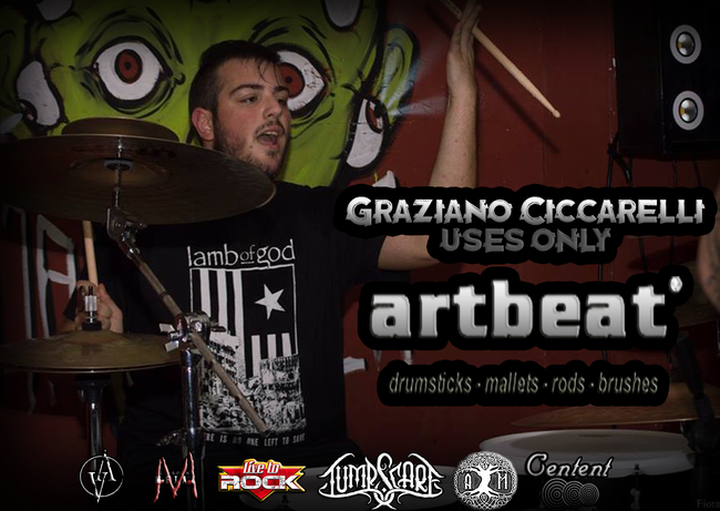 """JUMPSCARE, Graziano Ciccarelli, ART BEAT DRUMSTICKS, endorsement, Axis Mundi, Sowing Storms, ep, Volcano Records, """"Solve Et Coagula"""", Luis Maggio, Bloodtruth, Sudden Death"""