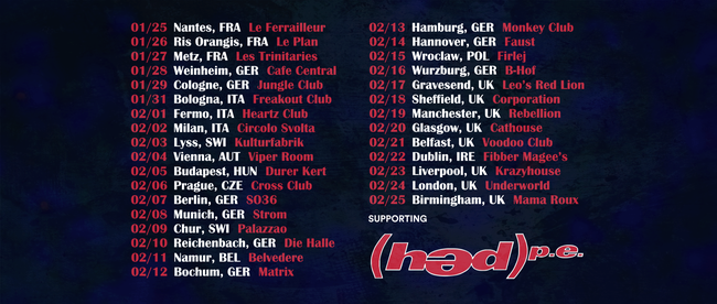 Canadian nerd rockers DOUBLE EXPERIENCE performing these tour dates in Italy supporting HED P.E