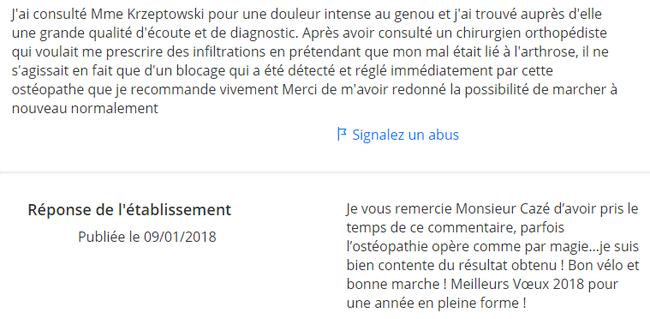Avis pour Karine Krzeptowski Ostéopathe à Compiègne