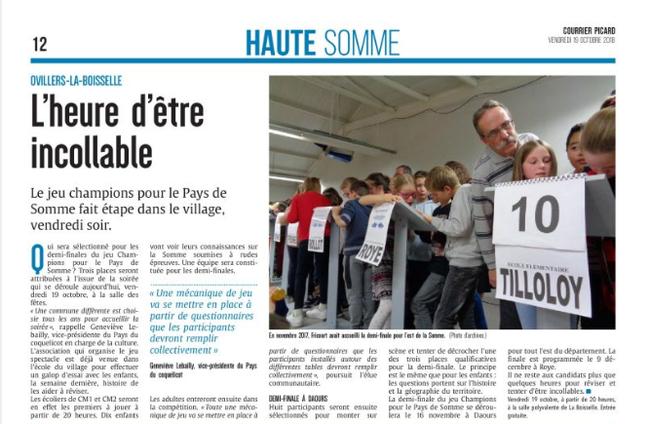 Soirée d'Ovillers-La Boisselle - Article du Courrier Picard - Octobre 2018