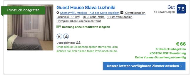 Screenshot Booking.com vom 07.01.18