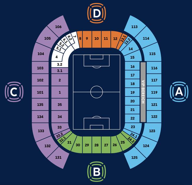 Stadionplan RB Leipzig Red Bull Arena / Sitzplan (Quelle: https://rbleipzig.com/de/klub/red-bull-arena/besucherinformation/)