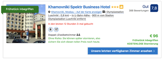 Screenshot Booking.com vom 07.01.18