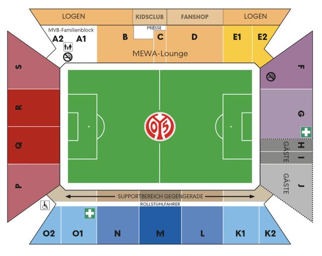 Stadionplan Mainz 05 MEWA Arena Sitzplan ( Quelle: https://www.mainz05.de/11er-karte/)