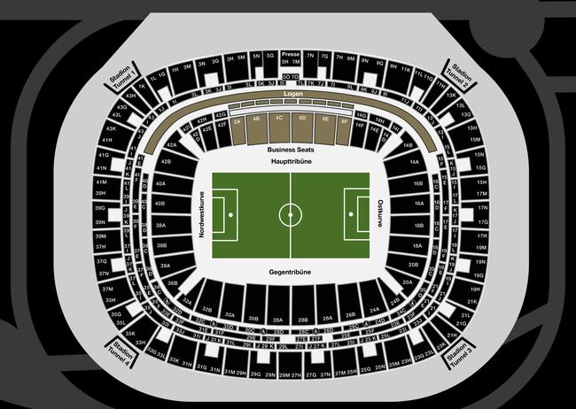 Deutsche Bank Park Eintracht Frankfurt Stadionplan / Sitzplan (Quelle: https://media.eintracht.de/image/upload/v1608026420/saalplan_deutsche_bank_park_spielfeld-c96a.pdf)