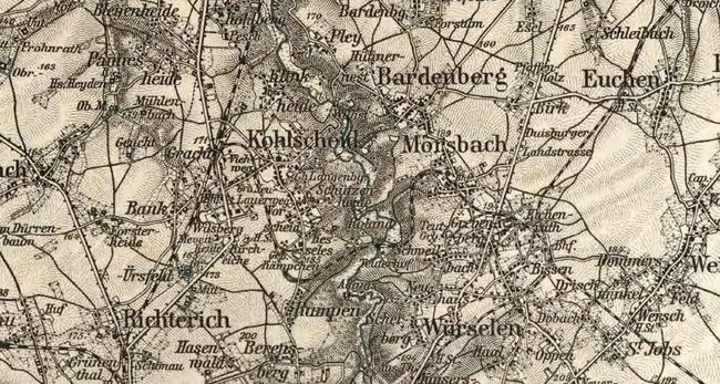 Kohlscheid auf der Karte des deutschen Reichs 1893