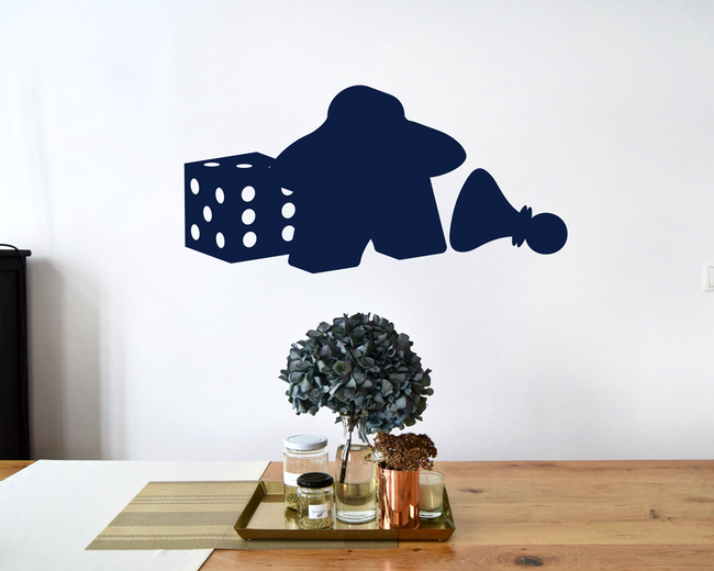 Board Game pieces wall art stickers. From www.wallartcompany.co.uk