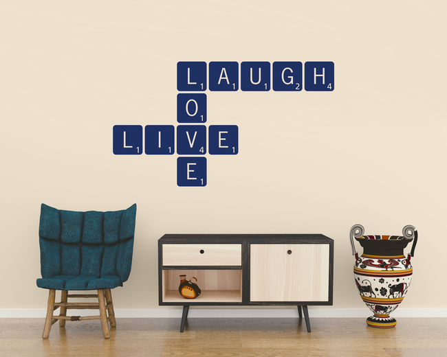 Live Laugh Love Scrabble vinyl wall art quote from www.wallartcompany.co.uk