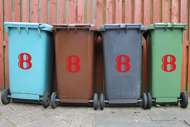 Large Wheelie bin number stickers in an handwritten style.
