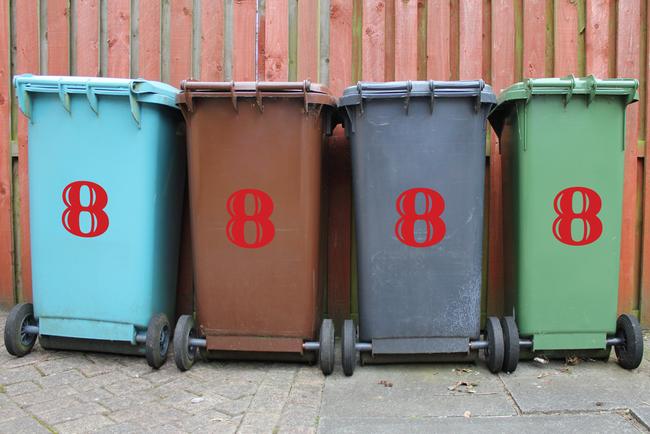 Large Wheelie bin number stickers in an handwritten style.