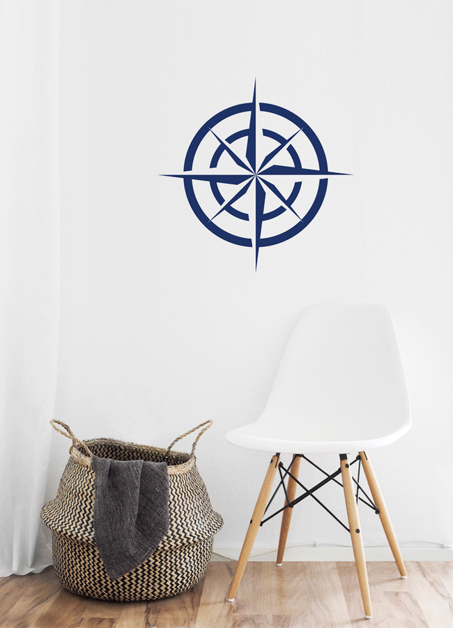 Nautical compass sticker in a bathroom creating an sea themed room from www.wallartcompany.co.uk
