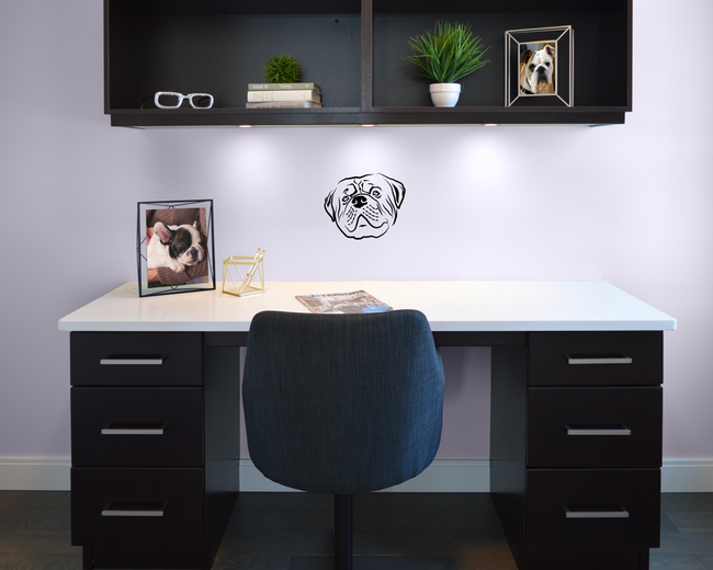 Bulldog wall art sticker cute dog.