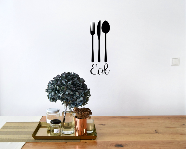 Eat Fork Knife Spoon for decoration. From www.wallartcompany.co.uk