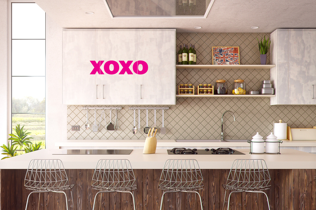 xoxo rumour wall art sticker love quote from www.wallartcompany.co.uk comes in loads of colours.