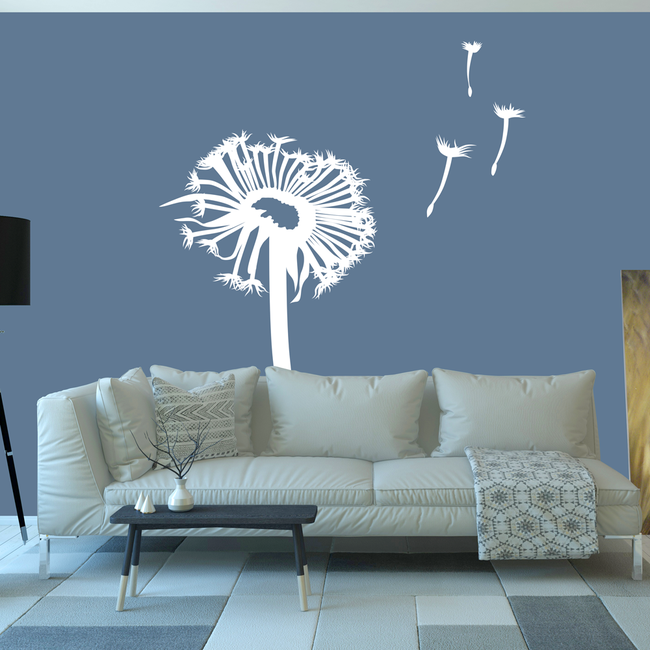 White Dandelion wall art sticker decal for decorating your bedroom and living room. From www.wallartcompany.co.uk
