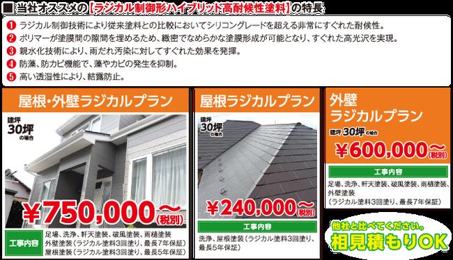 工事種類 屋根シリコンプラン屋根外壁おすすめプラン外壁ラジカルプラン