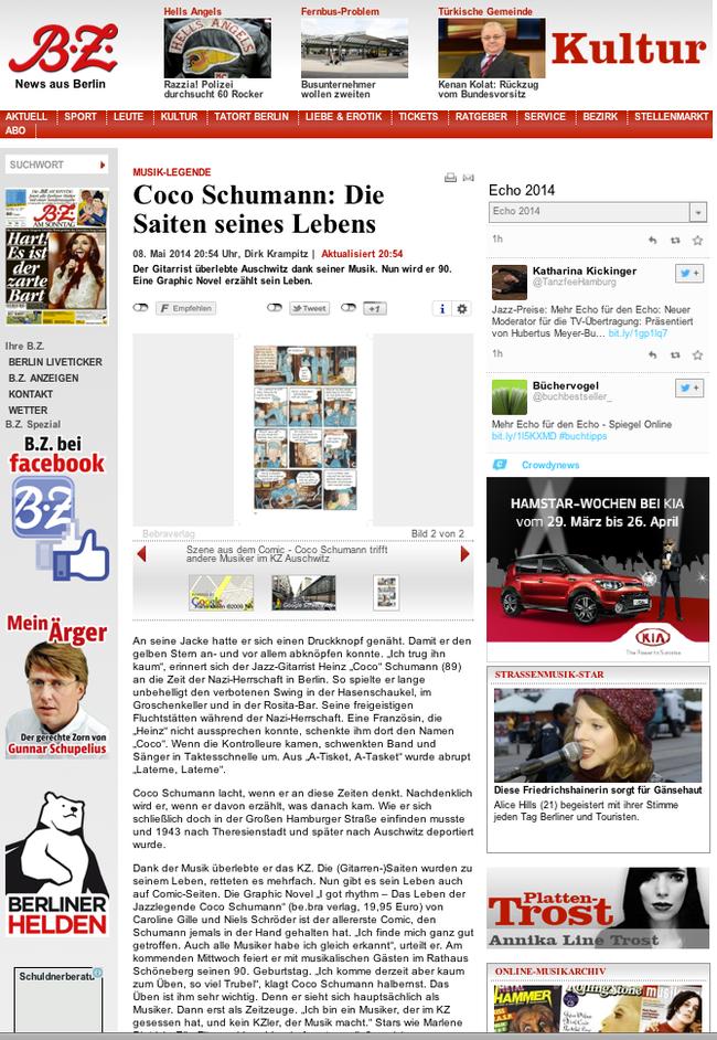 """Niels-Schroeder zeichnete die Graphic Novel """"I got Rhythm"""" - hier eine Rezension und Buchempfehlung in der B.Z. Mehr dazu unter: www.niels-schroeder.de"""