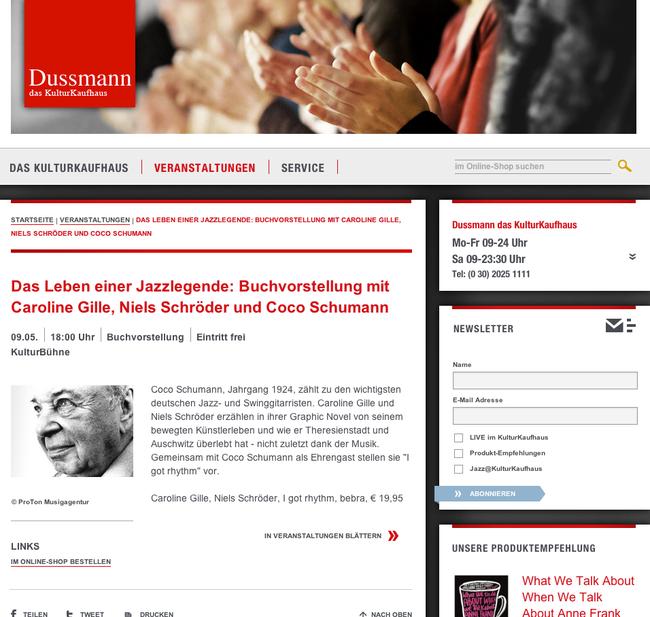 """Buchpremiere von """"I got Rhythm"""" bei Dussmann dem Kultur Kaufhaus in Berlin - mit den Autoren Caroline Gille, Niels Schröder und als Ehrengast Coco Schumann, der Jazz-Legende. © niels-schröder 2014"""