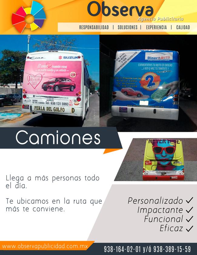 publicidad camiones medallon cd del carmen campeche