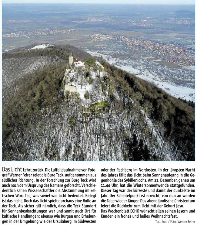 """Zeitungsartikel aus dem """"Esslinger Echo"""" vom Dezember 2016"""