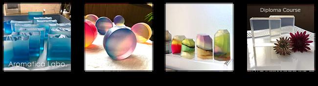 透明石鹸講座グラデーション石鹸講習宝石石鹸アロマティカ