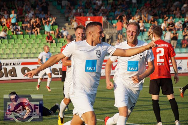 2018: Torschütze Ardian Morina jubelt in der Regionalligapartie über seinen Führungstreffer zum 1:0 gegen die TSG Balingen. Endstand 2:0.