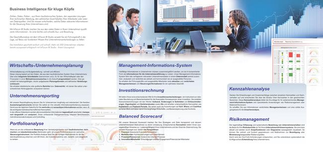 6-seitige Broschüre über eine Business Intelligence Software