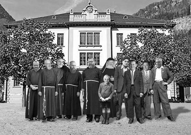 """Originelle Fotomontage: """"Meine Lehrerschaft"""" und... ich (Fotomontage: Willi Niederer)"""