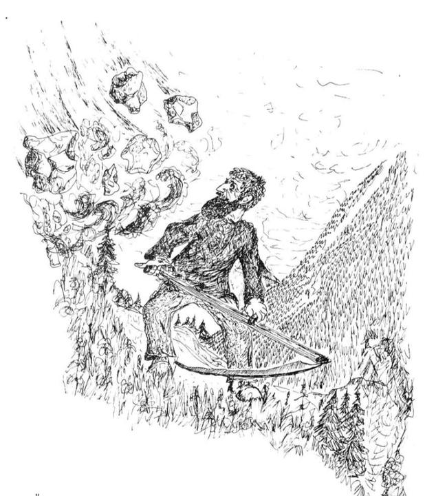 Zeichnung aus: Dr ghülpet Bott, Sulzbodäziitig, 2.Haargang, 1977, S. 6f.