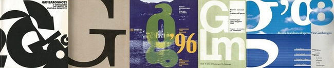 "Ausstellungplakate der ""Mostra di sculpture all'aperto Vira-Gambarogno"" (1968-2008) Gründerpräsident: Edgardo Ratti."