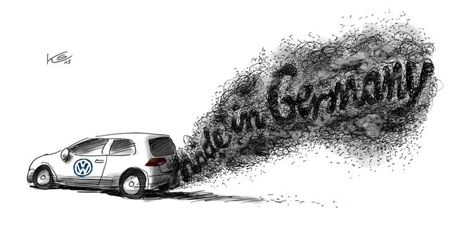 Karikatur zur Frage der Abgaswerte und deren derzeit diskutierten Manipulation in Deutschland.